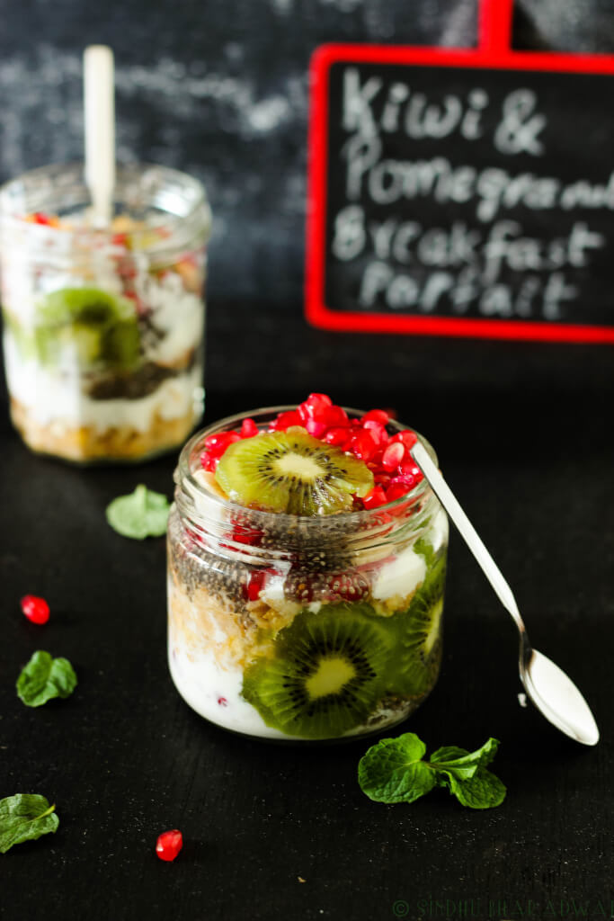 Pomegranate and Kiwi Breakfast Parfait