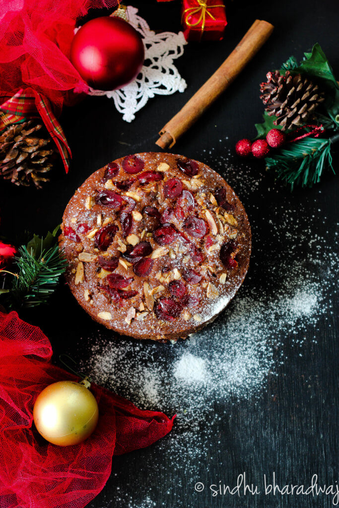 Eggless christmas fruits cake - plum cake - slurpy platter