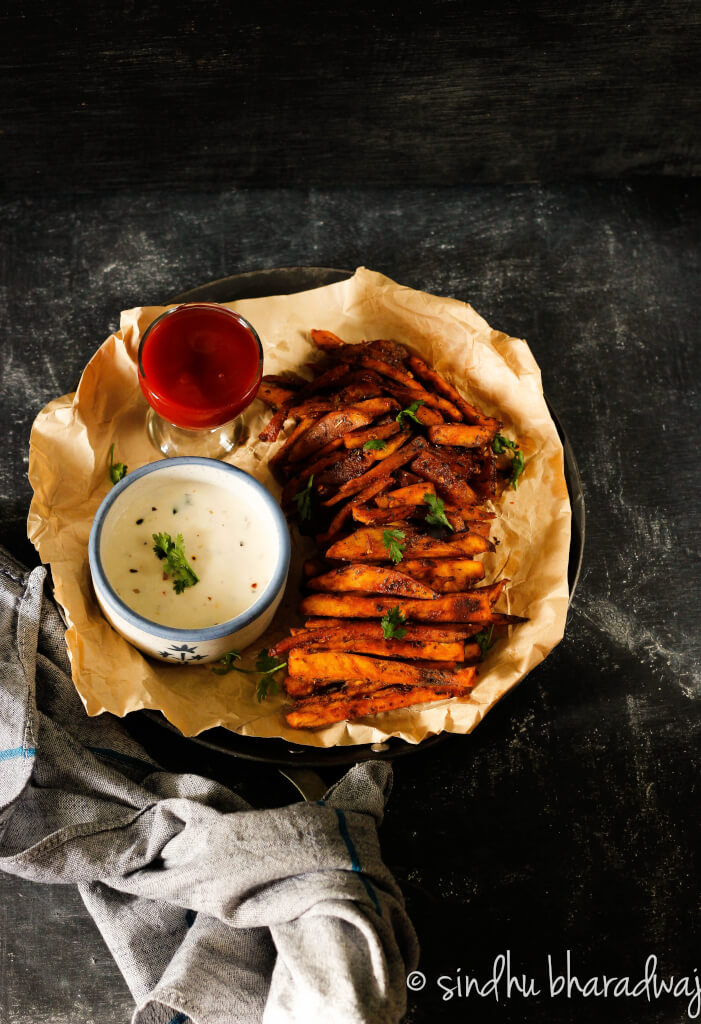 Healthy alternative to potato fries - these piri piri sweet potato fries are your best bet for a healthy guilt free indulgence.