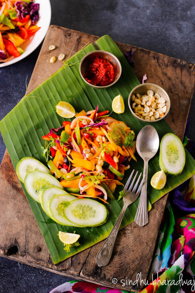Eating the rainbow never got so easy, yummy, colourful, super healthy, flavourful and just right in this Burmese Pickled Ginger Salad aka Gin Thoke.